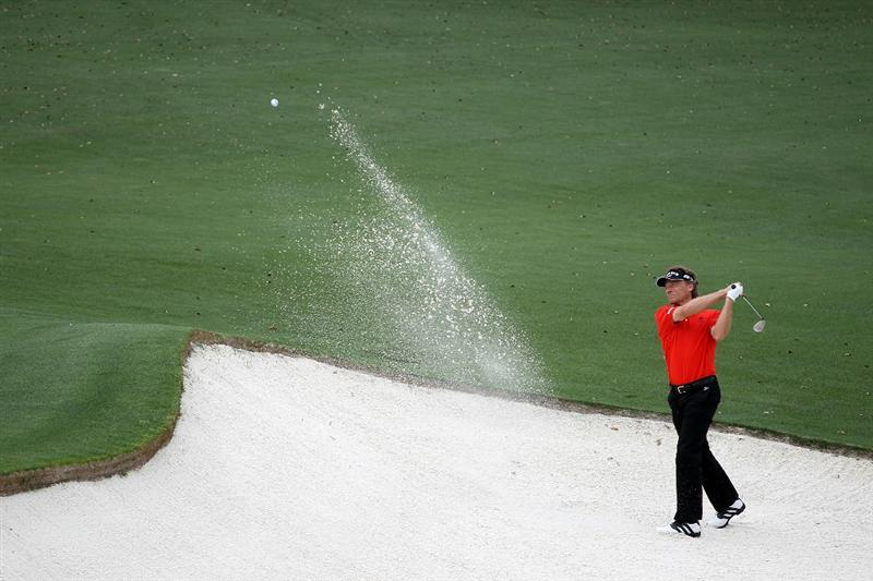 AUGUSTA, GA - APRIL 08:  Bernhard Langer of Germany plays his third shot from the bunker on the 18th hole during the first round of the 2010 Masters Tournament at Augusta National Golf Club on April 8, 2010 in Augusta, Georgia.  (Photo by Jamie Squire/Getty Images)