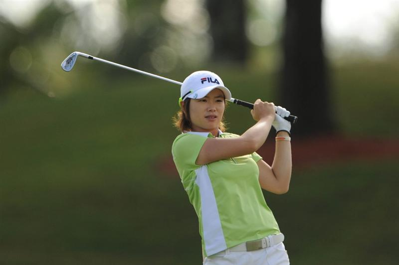 WEST PALM BEACH, FL - NOVEMBER 23:  Eun-Hee Ji of South Korea hits her second shot on the second hole during the final round of the ADT Championship at the Trump International Golf Club on November 23, 2008 in West Palm Beach, Florida.  (Photo by Montana Pritchard/Getty Images)