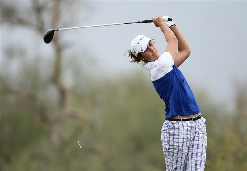 PHOENIX, AZ - MARCH 20:  Jennifer Johnson hits her tee shot on the 18th hole during the final round of the RR Donnelley LPGA Founders Cup at Wildfire Golf Club on March 20, 2011 in Phoenix, Arizona. (Photo by Stephen Dunn/Getty Images)