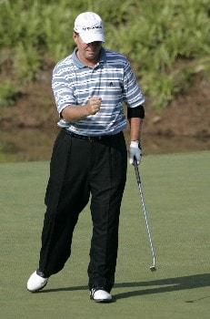 Lonnie Nielsen  at the 18th green during the second round of the Bruno's Memorial Classic, May 21,2005, held at Greystone GC, Birmingham, Al.  D.A. Weibring shot a second round 12 under par.Photo by Stan Badz/PGA TOUR/WireImage.com