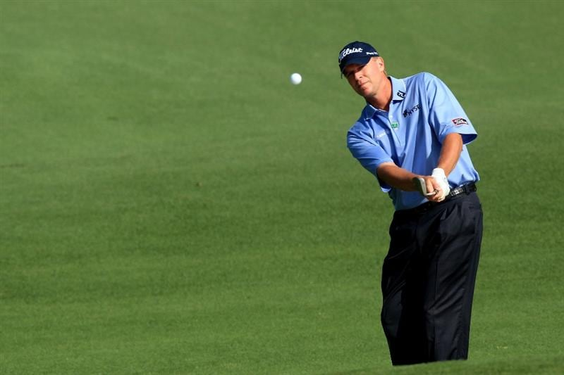 AUGUSTA, GA - APRIL 07:  Steve Stricker hits a shot during a practice round prior to the 2010 Masters Tournament at Augusta National Golf Club on April 7, 2010 in Augusta, Georgia.  (Photo by David Cannon/Getty Images)