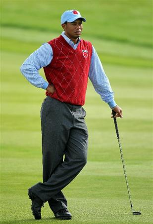 NEWPORT, WALES - SEPTEMBER 28:  Tiger Woods of the USA looks on during a practice round prior to the 2010 Ryder Cup at the Celtic Manor Resort on September 28, 2010 in Newport, Wales.  (Photo by Andy Lyons/Getty Images)