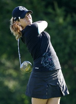 SPRINGFIELD, IL - AUGUST 30: Erica Blasberg hits her tee shot on the 16th hole during the first round of the State Farm Classic at Panther Creek Country Club on August 30, 2007 in Springfield, Illinois. (Photo by Hunter Martin/Getty Images)