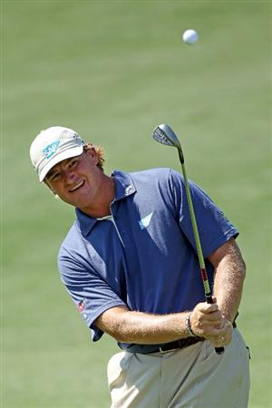 AUGUSTA, GA - APRIL 04:  Ernie Els of South Africa plays a pitch shot during a practice round prior to the 2011 Masters Tournament at Augusta National Golf Club on April 4, 2011 in Augusta, Georgia.  (Photo by Andrew Redington/Getty Images)