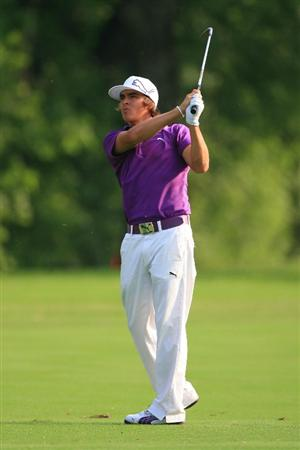FORT WORTH, TX - MAY 20: Rickie Fowler hits his third shot on the 11th hole during the second round of the Crowne Plaza Invitational at Colonial Country Club on May 20, 2011 in Fort Worth, Texas. (Photo by Hunter Martin/Getty Images)