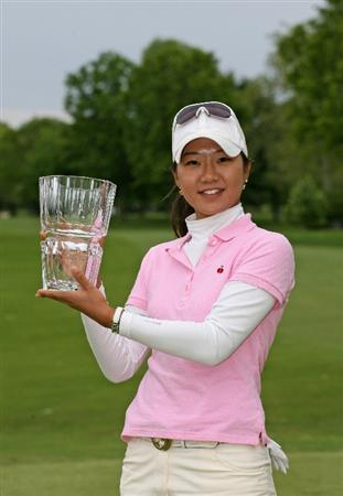 CLIFTON, NJ - MAY 17: Ji Young Oh of South Korea holds the championship trophy after winning the Sybase Classic presented by ShopRite at Upper Montclair Country Club May 17, 2009 in Clifton, New Jersey. (Photo by Hunter Martin/Getty Images)
