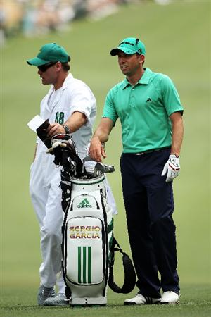 AUGUSTA, GA - APRIL 09:  Sergio Garcia of Spain  waits with his caddie Gary Matthews on the first hole during the third round of the 2011 Masters Tournament at Augusta National Golf Club on April 9, 2011 in Augusta, Georgia.  (Photo by Andrew Redington/Getty Images)