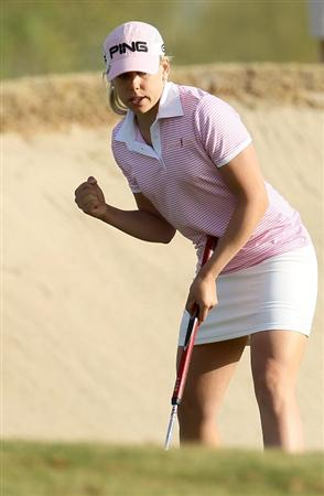 PHOENIX, AZ - MARCH 18:  Pernilla Lindberg of Sweden pumps her fist after making a birdie putt on the 11th hole during the first round of the RR Donnelley LPGA Founders Cup at Wildfire Golf Club on March 18, 2011 in Phoenix, Arizona. (Photo by Stephen Dunn/Getty Images)