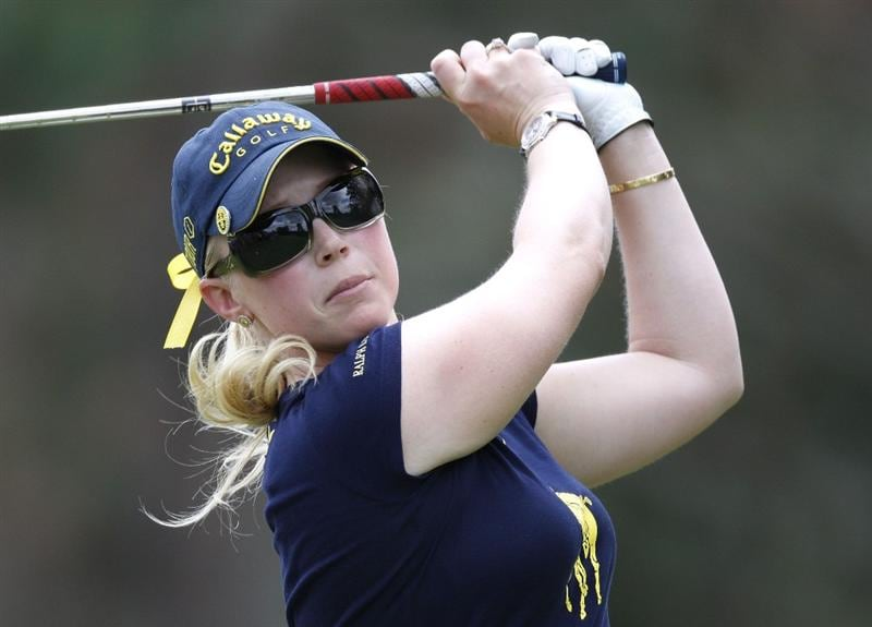 SYLVANIA, OH - JULY 05: Morgan Pressel  watches her tee shot to the second green during the final round of the Jamie Farr Owens Corning Classic at Highland Meadows Golf Club on July 5, 2009 in Sylvania, Ohio.  (Photo by Gregory Shamus/Getty Images)