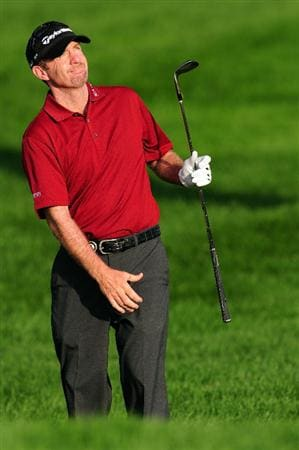CHASKA, MN - AUGUST 13:  Rod Pampling of Australia watches a shot on the first hole during the first round of the 91st PGA Championship at Hazeltine National Golf Club on August 13, 2009 in Chaska, Minnesota.  (Photo by Stuart Franklin/Getty Images)