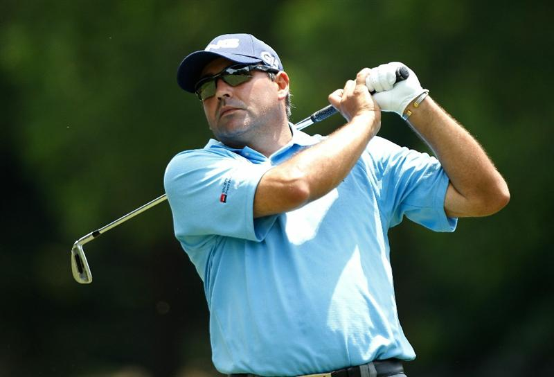 FT. WORTH, TX - MAY 27:  Angel Cabrera of Argentina watches a shot on the fourth hole during the first round of the 2010 Crowne Plaza Invitational at the Colonial Country Club on May 27, 2010 in Ft. Worth, Texas  (Photo by Scott Halleran/Getty Images)