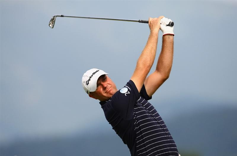 CELADNA, CZECH REPUBLIC - AUGUST 01:  Graeme Storm of England in action during day three of the Moravia Silesia Open Golf on August 1, 2009 in Celadna, Czech Republic.  (Photo by Julian Finney/Getty Images)