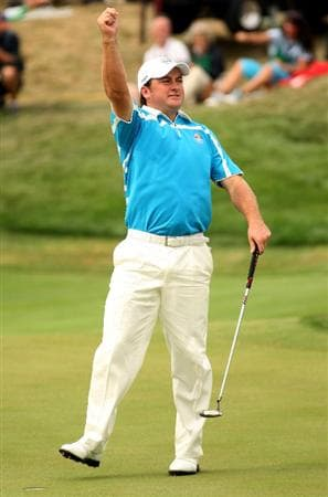 LOUISVILLE, KY - SEPTEMBER 20:  Graeme McDowell of the European team celebrates a birdie on the 15th hole during the morning foursome matches on day two of the 2008 Ryder Cup at Valhalla Golf Club on September 20, 2008 in Louisville, Kentucky.  (Photo by Ross Kinnaird/Getty Images)
