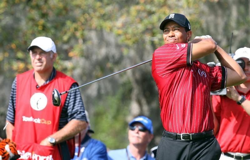 ORLANDO, FL - MARCH 16:  Tiger Woods of the USA and the Isleworth Team at the 1st hole during the first day of the 2009 Tavistock Cup at the Lake Nona Golf and Country Club, on March 16, 2009 in Orlando, Florida  (Photo by David Cannon/Getty Images)