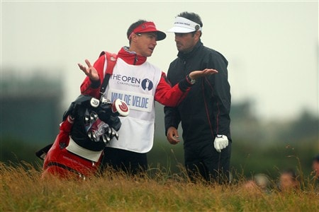 SOUTHPORT, UNITED KINGDOM - JULY 17:  Jean van de Velde of France chats with his caddy during the First Round of the 137th Open Championship on July 17, 2008 at Royal Birkdale Golf Club, Southport, England.  (Photo by Andrew Redington/Getty Images)