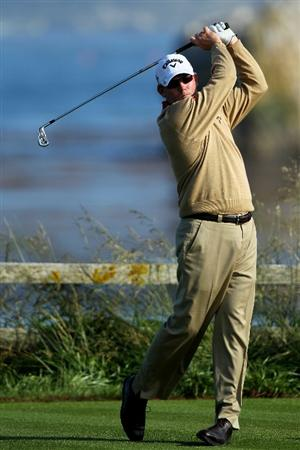 PEBBLE BEACH, CA - JUNE 17:  Shaun Micheel hits his tee shot on the 18th hole during the first round of the 110th U.S. Open at Pebble Beach Golf Links on June 17, 2010 in Pebble Beach, California.  (Photo by Donald Miralle/Getty Images)