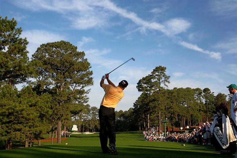 AUGUSTA, GA - APRIL 07:  Mark O'Meara watches a  tee shot during a practice round prior to the 2010 Masters Tournament at Augusta National Golf Club on April 7, 2010 in Augusta, Georgia.  (Photo by Jamie Squire/Getty Images)
