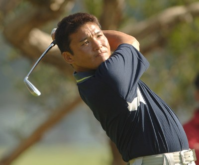 Shigeki Maruyama hits from the fourth tee during the practice round of the 2006 Nissan Open at Rivera Country Club in Pacific Palisades, California February 14, 2006.Photo by Steve Grayson/WireImage.com
