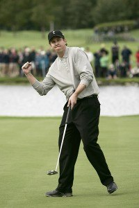 J.J. Henry reacts after halving his match during the Fourballs at the 2006 Ryder Cup at the K Club in Straffan, County Kildare, Ireland on September 22, 2006. The 2006 Ryder Cup - Four Ball - September 22, 2006Photo by Sam Greenwood/WireImage.com