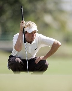 Craig Lile lines up his putt on the 5th green during the third round of the Sony Open in Hawaii held at Waialae Country Club in Honolulu, Hawaii, on January 13, 2007. Photo by: Marco Garcia/wireimage.comPhoto by: Marco Garcia/wireimage.com