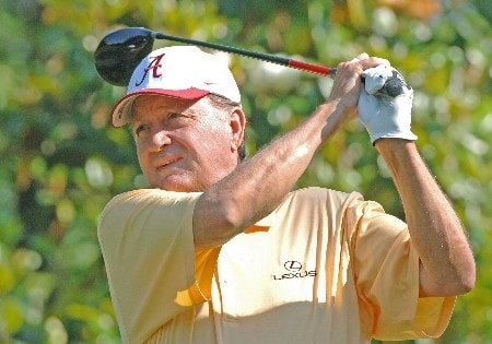 Raymond Floyd  drives from the second tee in  the Food World Pro Am at the 2005 Bruno's Memorial Classic, May 18, in Birmingham.Photo by Al Messerschmidt/WireImage.com