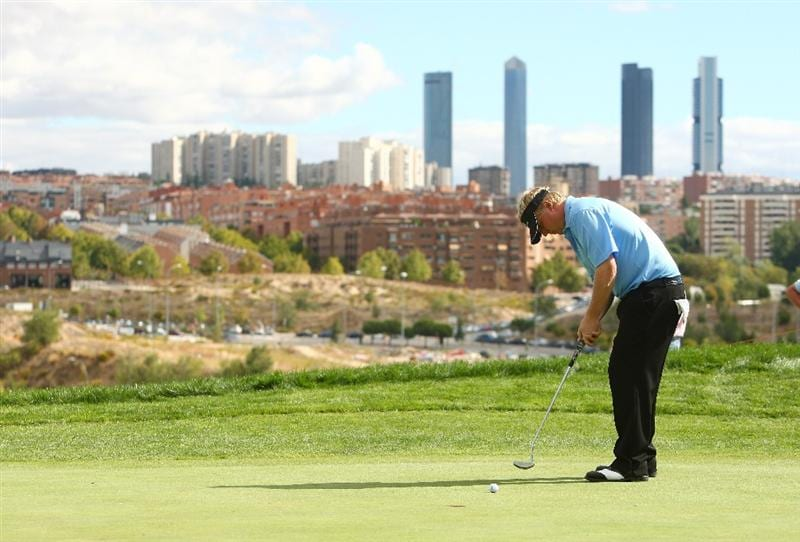 MADRID, SPAIN - OCTOBER 11:  Ross McGowan of England in action during the Final Round of the Madrid Masters at Cantro Nacional De Golf on October 9, 2009 in Madrid, Spain.  (Photo by Ian Walton/Getty Images)