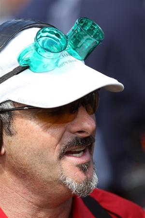 ORLANDO, FL - MARCH 17:  David Feherty of Northern Ireland the Golf Channel Announcer is suitably attired for St Patrick's Day on the tee at the first hole during the second day of the 2009 Tavistock Cup at the Lake Nona Golf and Country Club, on March 17, 2009 in Orlando, Florida  (Photo by David Cannon/Getty Images)
