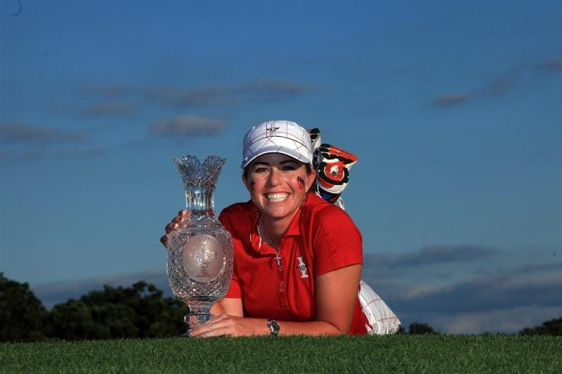 SUGAR GROVE, IL - AUGUST 23: Paula Creamer of the USA with the trophy after the Sunday singles matches at the 2009 Solheim Cup Matches, at the Rich Harvest Farms Golf Club on August 23, 2009 in Sugar Grove, Ilinois (Photo by David Cannon/Getty Images)