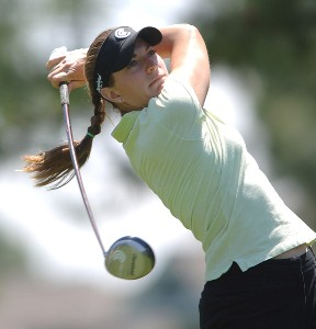 Brittany Lang in action during the third round of the LPGA's 2006 Michelob ULTRA Open at Kingsmill, at the Kingsmill Resort and Spa River Course in Williamsburg, Virginia on May 13, 2006.Photo by Steve Grayson/WireImage.com