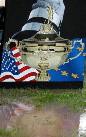 NEWPORT, WALES - OCTOBER 01:  General view of signage as rain falls and play is suspended during the Morning Fourball Matches during the 2010 Ryder Cup at the Celtic Manor Resort on October 1, 2010 in Newport, Wales.  (Photo by Sam Greenwood/Getty Images)