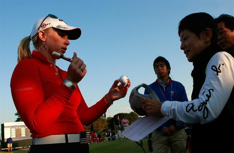 SHIMA, JAPAN - NOVEMBER 06:  Morgan Pressel of United States signs her autograph for fans during round two of the Mizuno Classic at Kintetsu Kashikojima Country Club on November 6, 2010 in Shima, Japan.  (Photo by Chung Sung-Jun/Getty Images)