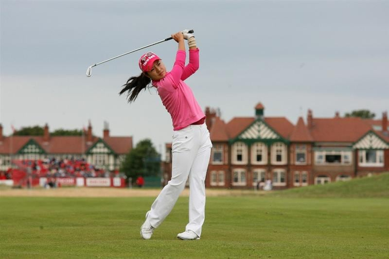 LYTHAM ST ANNES, UNITED KINGDOM - JULY 31:  Hee Young Park of Korea hits her second shot on the 2nd hole during the second round of the 2009 Ricoh Women's British Open Championship held at Royal Lytham St Annes Golf Club, on July 31, 2009 in  Lytham St Annes, England. (Photo by Warren Little/Getty Images)