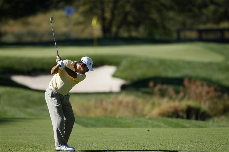POTOMAC, MD - OCTOBER 08:  David Frost of South Africa hits his second shot on the sixth hole during the second round of the Constellation Energy Senior Players Championship held at TPC Potomac at Avenel Farm on October 8, 2010 in Potomac, Maryland.  (Photo by Michael Cohen/Getty Images)