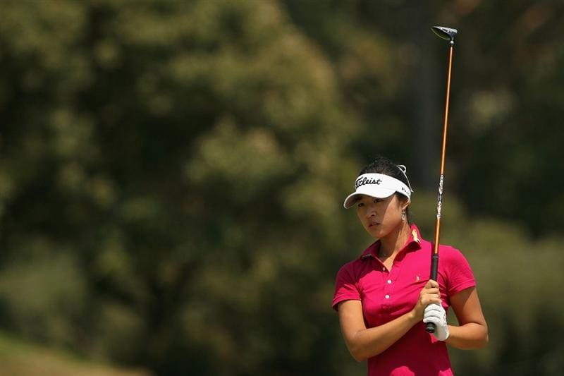 MELBOURNE, AUSTRALIA - FEBRUARY 14:  Justine Lee of Australia plays her second shot on the fourth hole during day three of the 2009 Women`s Australian Open held at the Metropolitan Golf Club February 14, 2009 in Melbourne, Australia.  (Photo by Robert Prezioso/Getty Images)