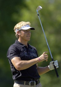 Ricky Barnes reacts to a drive during the third round of the Rheem Classic presented by Times Record held at Hardscrabble Country Club in Fort Smith, Arkansas, on May 13, 2006.Photo by Steve Levin/WireImage.com