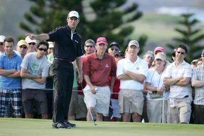 Mike Weir reacts to missing a putt on the 2nd hole during the final round of the Mercedes-Benz Championship at the Plantation Course on January 6, 2008 in Kapalua, Maui, Hawaii. PGA TOUR - 2008 Mercedes-Benz Championship - Final RoundPhoto by Jonathan Ferrey/WireImage.com