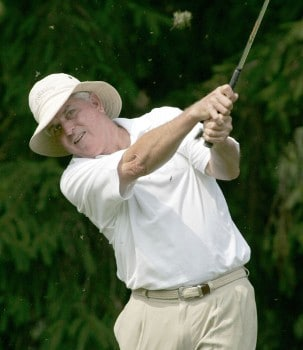 Dave Eichelberger hits an iron on his way to a 65 during the first round of the 2005 Commerce Bank Championship at Eisenhower Park in East Meadow, New York on July 1, 2005.Photo by Michael Cohen/WireImage.com