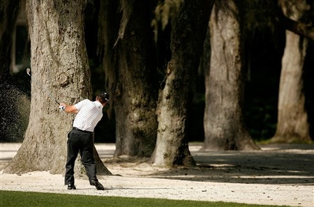 HILTON HEAD, SC - APRIL 18:  Jay Williamson hits a shot on the 3rd hole during the second round of the Verizon Heritage at Harbour Town Golf Links on April 18, 2008 in Hilton Head, South Carolina.  (Photo by Streeter Lecka/Getty Images)