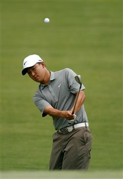 CHARLOTTE, NC - MAY 04:  Anthony Kim hits a shot on the 5th hole during the final round of the Wachovia Championship at Quail Hollow Country Club on May 4, 2008 in Charlotte, North Carolina.  (Photo by Streeter Lecka/Getty Images)