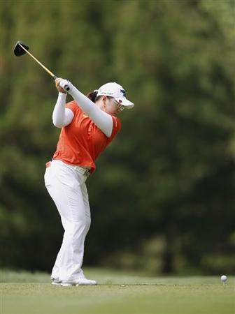 SYLVANIA, OH - JULY 03: Jiyai Shin of South Korea hits her tee shot on the 16th hole during the second round of the Jamie Farr Owens Corning Classic at Highland Hills Golf Club on July 3, 2009 in Sylvania, Ohio. (Photo by Gregory Shamus/Getty Images)