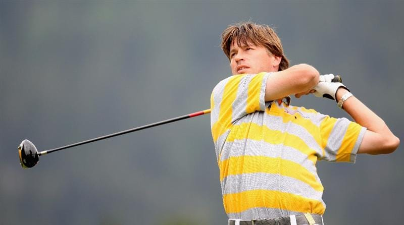 CRANS, SWITZERLAND - SEPTEMBER 06:  Robert-Jan Derksen of The Netherlands on the par five 14th hole during the third round the Omega European Masters at the Golf Club Crans-sur-Sierre on September 6, 2008 in Crans, Switzerland.  (Photo by Ross Kinnaird/Getty Images)
