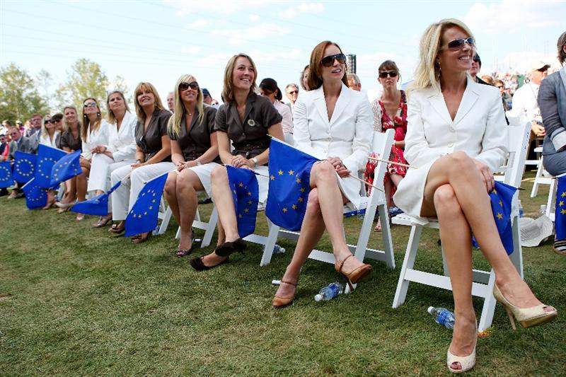 LOUISVILLE, KY - SEPTEMBER 18:  The wives and partners of the European team including (from L-R) Caroline Harrington, Anne Haghfelt, Jocelyn Hefner and Valerie Faldo watch the opening ceremony for the 2008 Ryder Cup at Valhalla Golf Club on September 18, 2008 in Louisville, Kentucky.  (Photo by Andrew Redington/Getty Images)