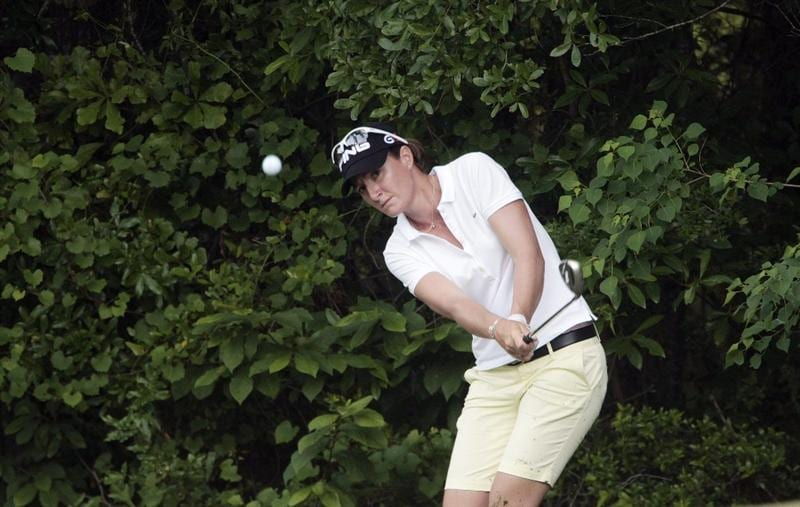 MOBILE, AL - MAY 13: Gwladys Nocera of France chips to the 10th hole during first round play in Bell Micro LPGA Classic at the Magnolia Grove Golf Course on May 13, 2010 in Mobile, Alabama.  (Photo by Dave Martin/Getty Images)