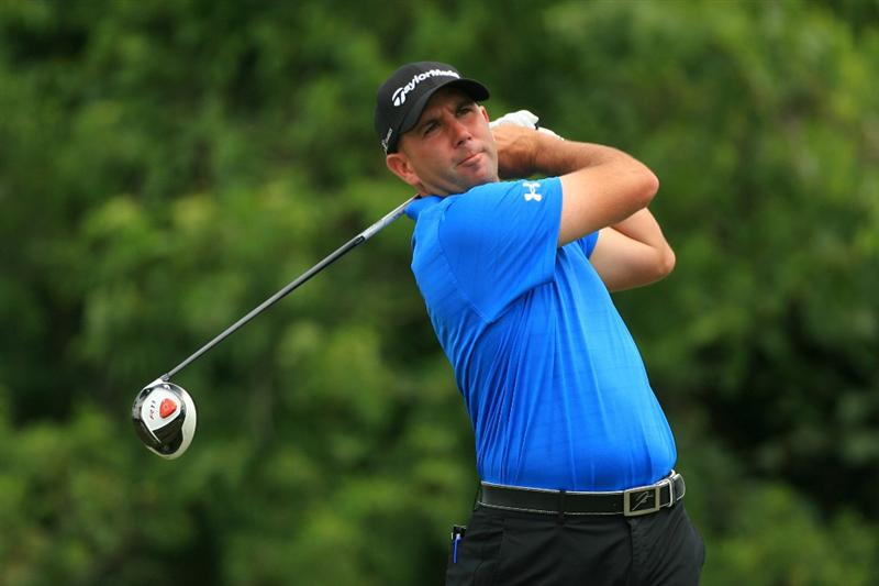 NEW ORLEANS, LA - APRIL 30: Josh Teater hits his tee shot on the second hole during the third round of the Zurich Classic at the TPC Louisiana on April 30, 2011 in New Orleans, Louisiana. (Photo by Hunter Martin/Getty Images)