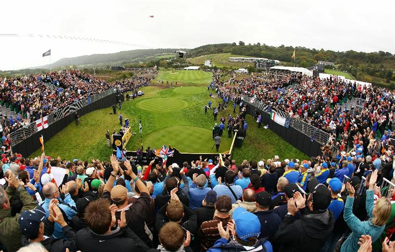 NEWPORT, WALES - OCTOBER 02:  Rory McIlroy and Graeme McDowell of Europe walk onto the 1st tee during the rescheduled Afternoon Foursome Matches during the 2010 Ryder Cup at the Celtic Manor Resort on October 2, 2010 in Newport, Wales.  (Photo by Richard Heathcote/Getty Images)