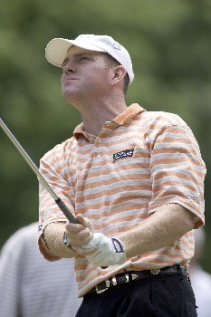 Troy Matteson watches his tee shot during the third round of the Rheem Classic at Hardscrabble Country Club in Fort Smith, AR, May 14, 2005. Schultz finished one shot off the lead at minus-9.Photo by Wesley Hitt/WireImage.com