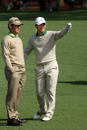 AUGUSTA, GA - APRIL 06:  Trevor Immelman of South Africa talks with Louis Oosthuizen of South Africa during a practice round prior to the 2009 Masters Tournament at Augusta National Golf Club on April 6, 2009 in Augusta, Georgia.  (Photo by Andrew Redington/Getty Images)