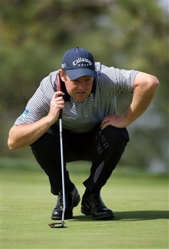 SAN DIEGO - JUNE 13:  Alastair Forsyth of Scotland lines up a putt on the fourth green during the second round of the 108th U.S. Open at the Torrey Pines Golf Course (South Course) on June 13, 2008 in San Diego, California.  (Photo by Ross Kinnaird/Getty Images)