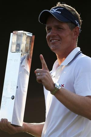 VIRGINIA WATER, ENGLAND - MAY 29:  Luke Donald of England holds the trophy following his victory in a playoff during the final round of the BMW PGA Championship  at the Wentworth Club on May 29, 2011 in Virginia Water, England.  (Photo by Warren Little/Getty Images)