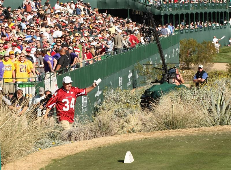 SCOTTSDALE, AZ - JANUARY 30: Billy Mayfair wears an Arizona Cardinals jersey in recognition of the upcoming Super Bowl as he walks to the tee on the 16th during the second round of the FBR Open on January 30, 2009 at TPC Scottsdale in Scottsdale, Arizona. (Photo by Stephen Dunn/Getty Images)